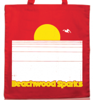 A red Beachwood Sparks tote bag